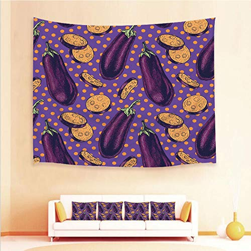 1pcs Hanging Tapestry and 4pcs Pillow case,Wall Hanging Blanket Beach Towels Picnic Mat Home Decor,Egggplants with Eighties Inspired and Dotted Purple,3D printed Tapestry for Bedroom Living -