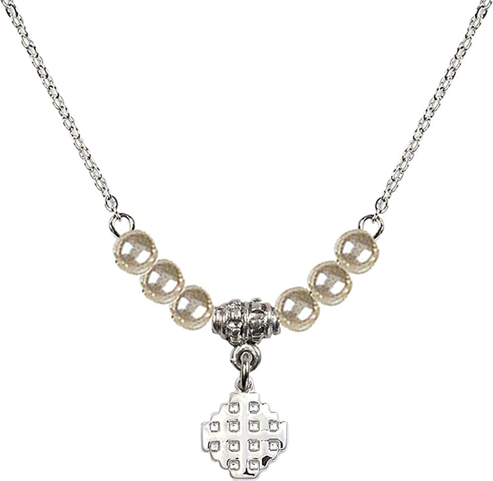 18 Inch Rhodium Plated Necklace w// 4mm Faux-Pearl Beads and Jerusalem Cross