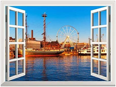 Removable Wall Sticker/Wall Mural - Majestic River View with a Ferris Wheel and Ships | Creative Window View Wall Decor - 24