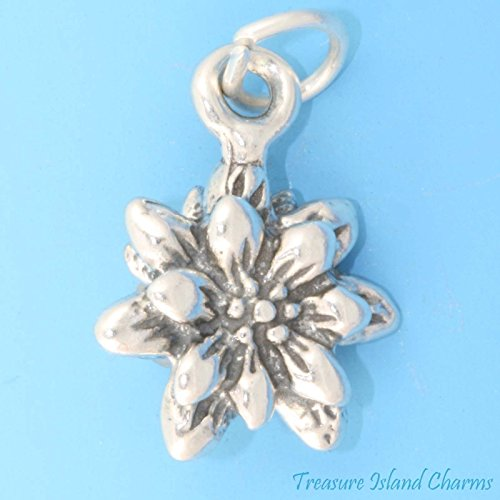 Blooming Edelweiss Flower 3D 925 Solid Sterling Silver Charm Pendant New Ideal Gifts, Pendant, Charms, DIY Crafting, Gift Set from Heart by Wholesale ()