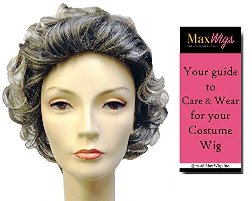 Bundle 2 items: Deluxe Queen Elizabeth II England Mixed Grey Wig British Monarch Royal Politician Halloween Theater Lacey Wigs, MaxWigs Costume Wig Care Guide Queen Elizabeth Ii Wig
