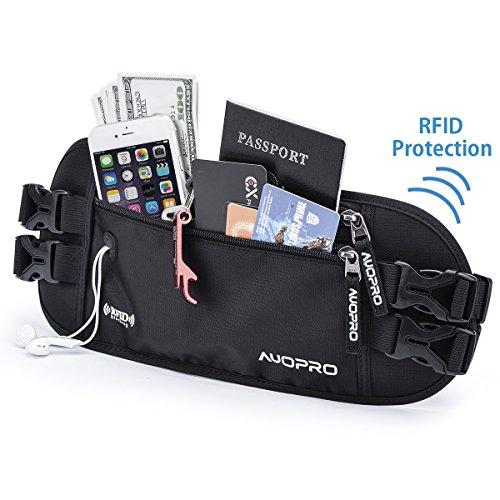 AUOPRO Travel Money Belt Waist Pack Waterproof Running Bum Bag RFID...
