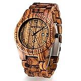 Bewell Wooden Watch Mens Date Display Quartz Analog Luminous Hands W086B (Zebra Wood)