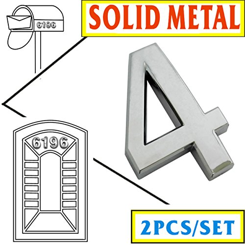 [Magicdo Two Pieces of Number 4, Self-stick Solid Metal Silver Number–2-3/4 Inch, Modern Mailbox Number, Modern House & Door Number, Car Number, Floating Appearance 3D Number Easy to install] (Large Lighted Address Plaque)