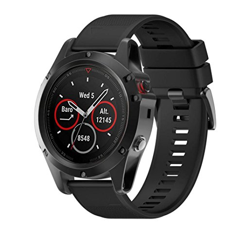 Cheap For Garmin Fenix 5X GPS Watch,SUKEQ Quick Release Soft Silicagel Replacement Kit Band Strap (Black)