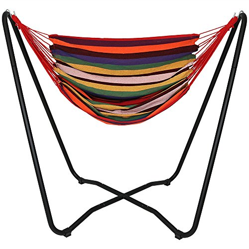 Single Swing Rope Cotton - Sunnydaze Hanging Rope Hammock Chair Swing with Space Saving Stand, Sunset - for Indoor or Outdoor Patio, Yard, Porch, and Bedroom