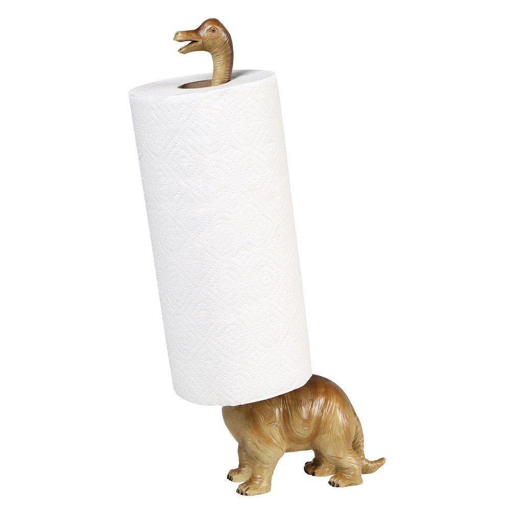 "Paper Towel Holder - Brontosaurus Dinosaur - Countertop Free Standing - 17"" High"