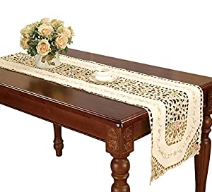 beige embroidered floral lace doily table runner rectangular 16 by 36 inch home. Black Bedroom Furniture Sets. Home Design Ideas