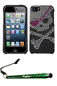 FoxyCase(TM) FREE stylus AND APPLE iPhone 5 Skull Full Diamond Bling Protector Cover cas couverture