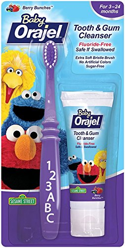 99db01b7a7c8 Orajel Baby Elmo Tooth and Gum Cleanser With Toothbrush, Berry, Berry Fun,  1.0 Oz