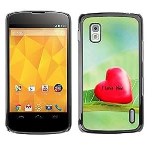 TopCaseStore / la caja del caucho duro de la cubierta de protección de la piel - Love I Love You - LG Google Nexus 4 E960