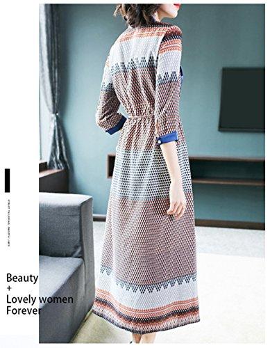 Abiti Monopetto Women`s Cotiledone Moda Vestito Abito Girocollo Manica 3/4 Per Il Blu Primavera Estate