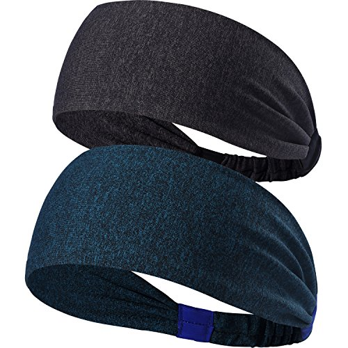 2 Pack Lightweight Black Sports Headband - Non Slip Moisture Absorbing Navy Sweatband - Ideal for Running, Cycling, Yoga and Athletic workouts