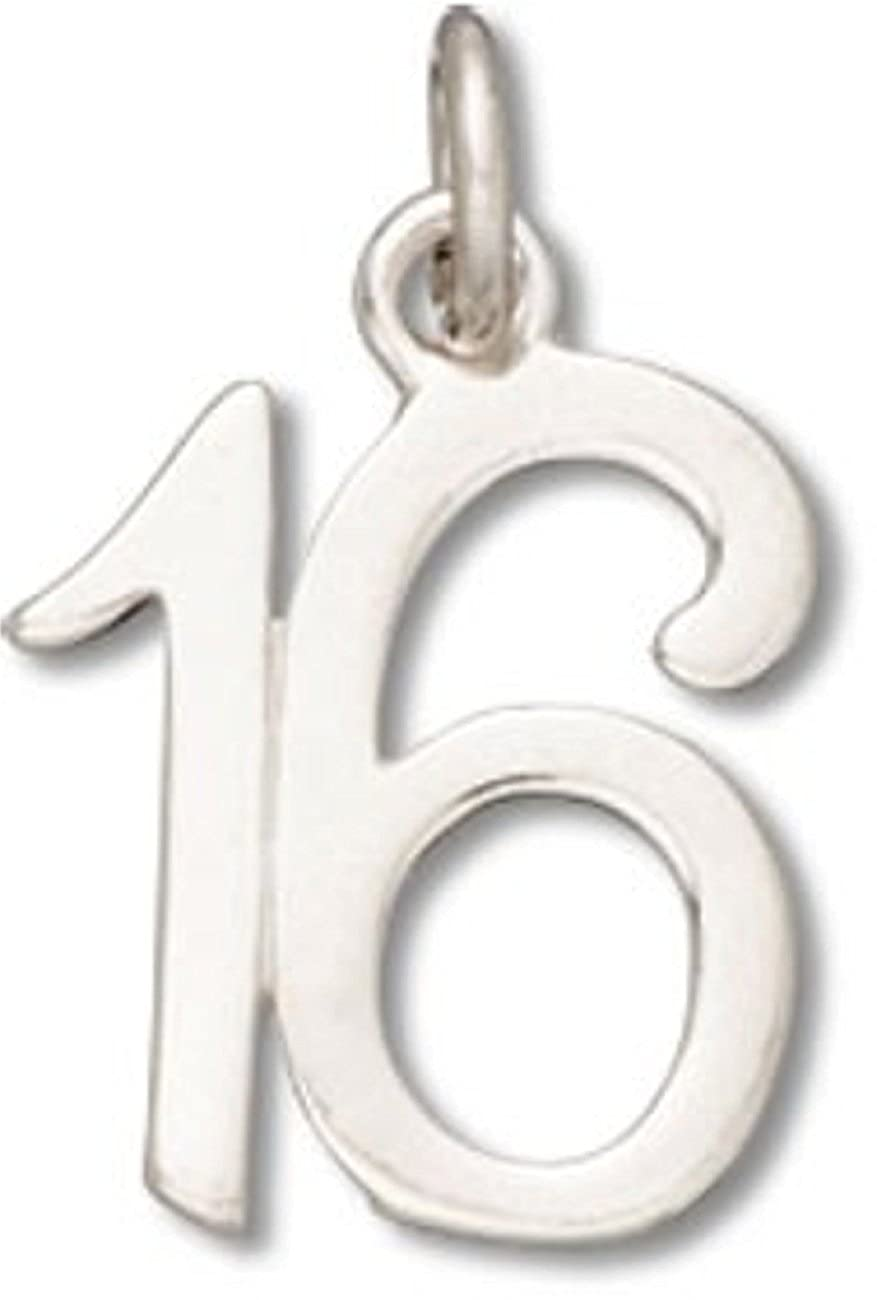 Sterling Silver 7 4.5mm Charm Bracelet With Attached Number 16 Sixteen Charm