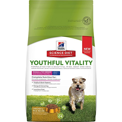 HillS Science Diet Senior Dog Food, Adult 7+ Small & Toy Breed Youthful Vitality Chicken & Rice Recipe Dry Dog Food, 12.5 Lb Bag