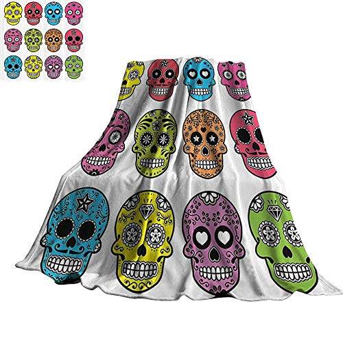 WinfreyDecor Skulls Decorations Collection Warm Blanket Ornate Colorful Traditional Mexian Halloween Skull Icons Dead Humor Folk Art Print 60