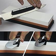 Kangkang@ 1 PCS Double-side Available Knife Sharpener Sharpening Stone Whetstone + 1 PCS Black Knife Sharpening Angle Guide