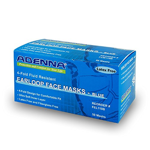 Adenna 3-ply/4-fold Earloop Face Mask, Blue
