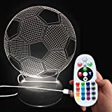 DONJON Night Light LED foothball Lamp with Wireless Remote Control 16 Colors for Kid Bedroom - (Birthday Presents, Christmas Gifts, etc.)-(Football) …