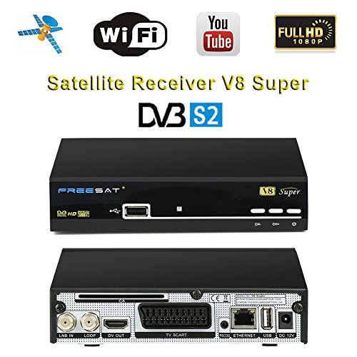 Genuine Free Sat HD 1080P Digital V8 Super Satellite Receiver DVB-S2 Satellite Decoder Free To Air FTA Wireless Smart Receiver, Supports Powervu Bisskey USB WIFI (an USB WiFi Dongle for Gift)