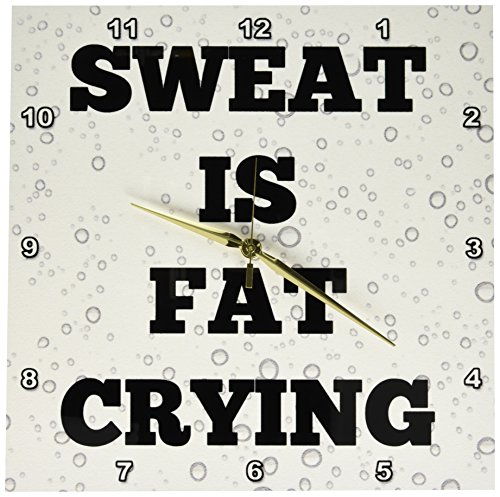 (3dRose DPP_200701_2 Sweat is Fat Crying Black Letters on Pics of Drops of Sweat Wall Clock, 13 by 13-Inch)