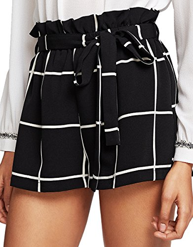 Jersey Striped Shorts (Romwe Women's Casual Summer Elastic Waist Shorts Striped Walking Shorts Black L)