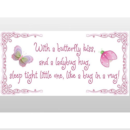 With A Butterfly Kiss Ladybug Hug Sleep Tight Little One Like Bug In Rug! Removable Vinyl Wall Stickers Girls Room Baby Nursery Sayings Quote Butterflies Lady Bugs Girl Decor Decal Kids Graphics Art Ladybug Nursery Rhyme
