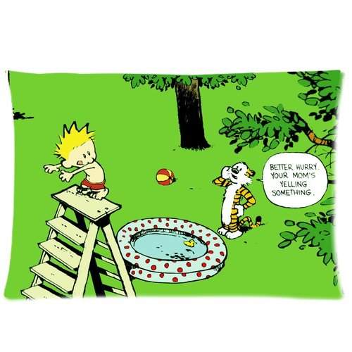 Happinessexplorer Soft Cotton Daily Comic Calvin and Hobbes Pillow Cases 20x30 (one side), Best Christimas Gift for Friends and Kids