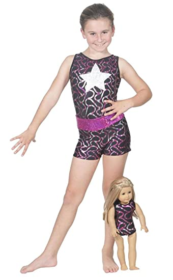 08b4b54b6e Delicate Illusions Girls Tank Sleeveless Leotard with Shorts for Gymnastics  Matching 18 Inch Doll Leotard L