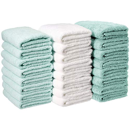 AmazonBasics Cotton Hand Towels - Pack of 24, Multi-Color Seafoam Green, Ice Blue, White (Towels Seafoam Hand)