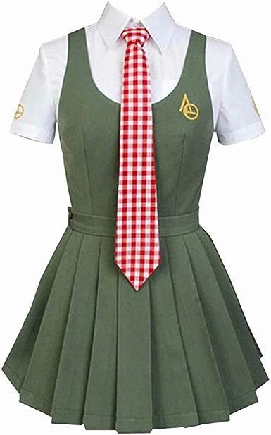 Anime Danganronpa Mahiru Koizumi Cosplay Uniforme Camisa Blanca Ejército Verde Falda y Corbata roja Conjunto Completo: Amazon.es: Ropa y accesorios