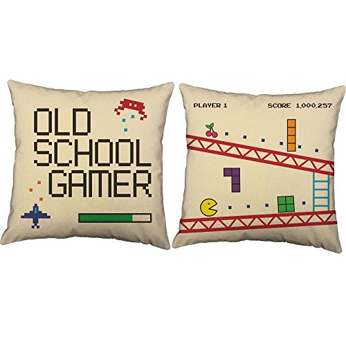 Set of 2 RoomCraft Old School Gamer Throw Pillow Covers 14x14 Square Natural Cotton Video Game Shams