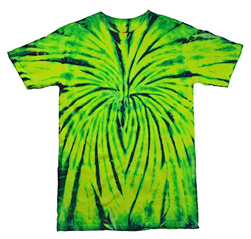 Gildan Tie Dye T-Shirts Yellow Green Spider Kids & Adult Sizes (X-Large)