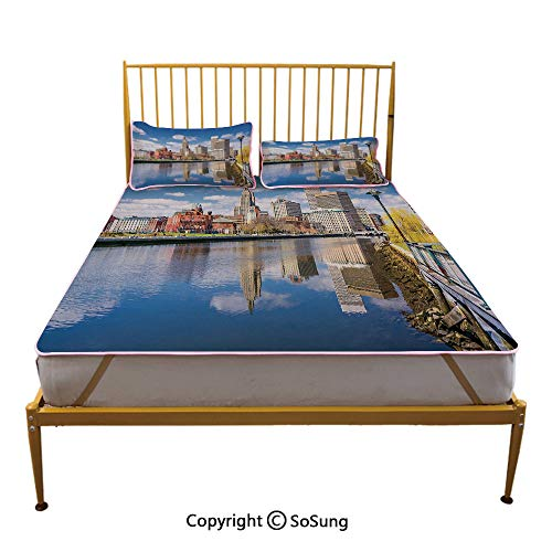 United States Creative King Size Summer Cool Mat,Providence Rhode Island Riverfront Spring Season Water Reflection Buildings Decorative Sleeping & Play Cool Mat,Multicolor