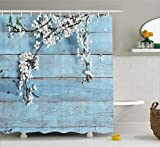 Ambesonne Rustic Home Decor Shower Curtain, A Branch with Spring Flowers on Wooden Fragility Symbol of Spring, Fabric Bathroom Decor Set with Hooks, 70 Inches, White Light Blue