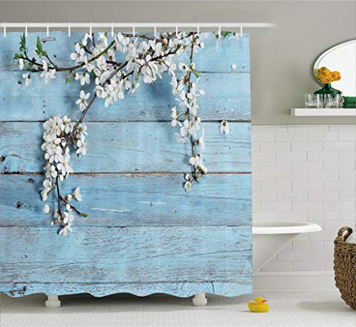 Decor Easter Home Spring (Ambesonne Rustic Home Decor Shower Curtain, A Branch with Spring Flowers on Wooden Fragility Symbol of Spring, Fabric Bathroom Decor Set with Hooks, 70 Inches, White Light Blue)
