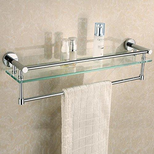 KHSKX Bathroom cosmetics washed with stainless steel bathroom glass shelf Towel Bar -