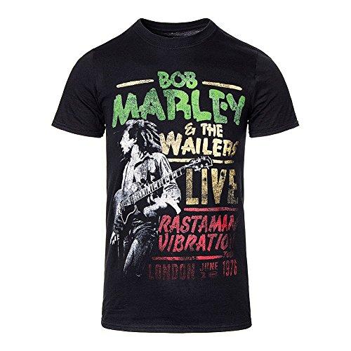 Official Unisex-adults Bob Marley Rasta Man Vibration Tour T Shirt (black) -