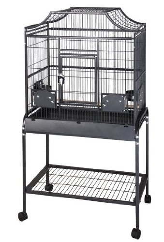 "Anahola Abode Flight Bird Cage - 28"" x 18"" x 55"" - Black by BirdCages4Less"