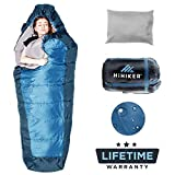 sleeping bag - HiHiker Mummy Bag + Travel Pillow w/Compact Compression Sack - 4 Season Sleeping Bag for Adults & Kids - Lightweight Warm and Washable, for Hiking Traveling & Outdoor Activities (Blue)