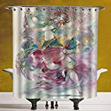 SCOCICI Polyester Shower Curtain 3.0 [ Watercolor,Oriental Dance Theme Young Girl Performing in Traditional Costume Fantasy Figure,Multicolor ] Polyester Fabric Bath Decorative Curtain Ideas