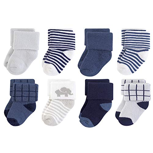 Touched by Nature Baby Organic Cotton Socks, Blue Elephant 8Pk, 6-12 - Sock Elephant