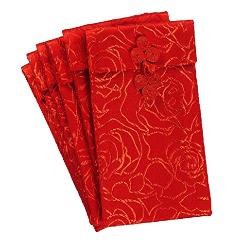 Chinese Silk Red Envelopes - 6-Piece Lunar New Year Hongbao Red Money Pockets, Silk Fabric Pouches, Bags for Jewelry, Gift, and Money, 3.7 x 6.7 Inches