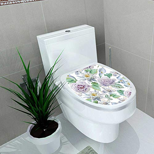 (Toilet Seat Sticker Flowers Rose Lily Drawn Waterproof Decorative Toilet Cover Stickers W15 x L17)
