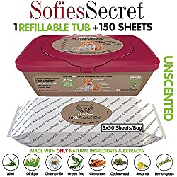 SofiesSecret Pet Wipes for Dogs+Cats, 150XL Wipes, UNSCENTED, All in ONE Grooming, 100% Natural Oils & Extracts, Extra Thick, Ultra Soft, Extra Large, Cruelty Free & Vegan