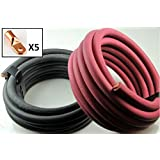 Crimp Supply Ultra-Flexible Car Battery/Welding Cable – 3/0 Gauge, (15 Feet Red/15 Feet Black) – and 5 Copper Lugs