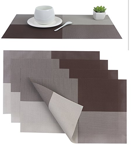 Placemat,Placemats PVC Dining Room Placemat for Table Heat Insulation Stain resistant Washable Anti-skid Eat Mats Kitchen Placemat Simple Style,Set of 4(Coffee Color)