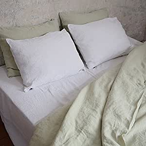 linenme stone washed bed linen fitted sheet 60 by 80 by 14 inch optical white. Black Bedroom Furniture Sets. Home Design Ideas