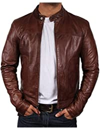 Brandslock Vintage Mens Biker Leather Bomber Jacket Designer Look