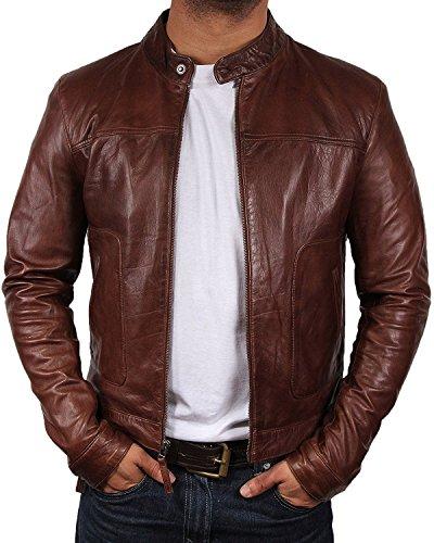 (Brandslock Mens Biker Leather Bomber Jacket Coat Designer (XL(fits Chest 40-42 inches, Brown))